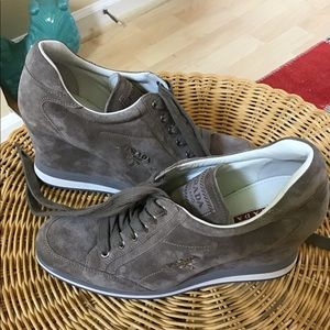 Prada Shoes - Prada Suede Lace-Up Wedge Sneaker Size 39